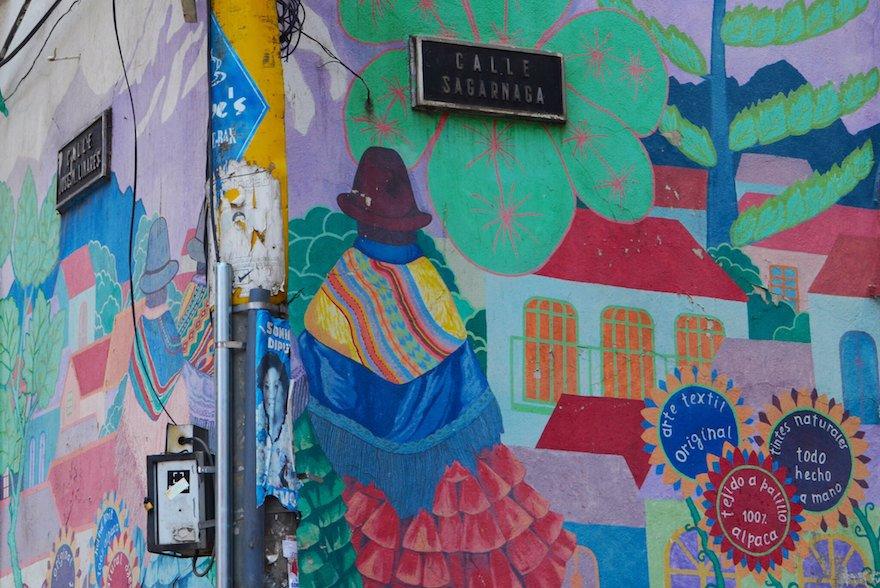 Bolivien La Paz Hauswand Nähe Hexenmarkt