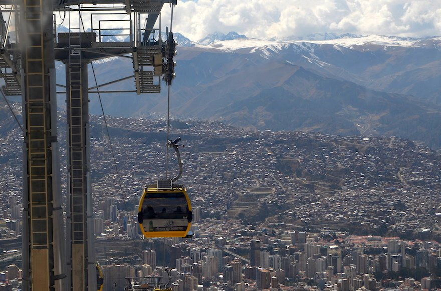 Bolivien La Paz Talkessel Seilbahn Teleferico